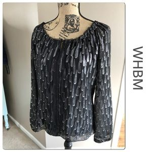 Very Pretty WHBM Black mesh top with Silver